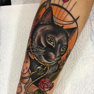Tattoo by Guen Douglas #GuenDouglas #neotraditional #color #kitty #cat #petportrait #animal #rabbit #bunny #rose #leaves #floral #flower #moon #nature