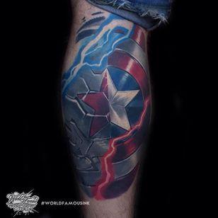 Winter Soldier Sheild Tattoo, artist unknown #wintersoldier #wintersoldiertattoo #captainamerica #marvel #marveltattoo #comicbooktattoo