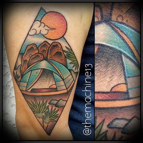 Camping Tattoo by Zack Taylor #TraditionalTattoos #TraditionalTattoo #OldSchool #OldSchoolTattoos #Traditional #ZackTaylor