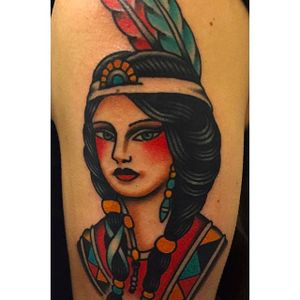 Beautiful traditional portrait of a native girl. Tattoo done by Jaclyn Rehe. #JaclynRehe #ChapelTattoo #traditional #girl #girlhead #girlsgirlsgirls #nativeamericangirl