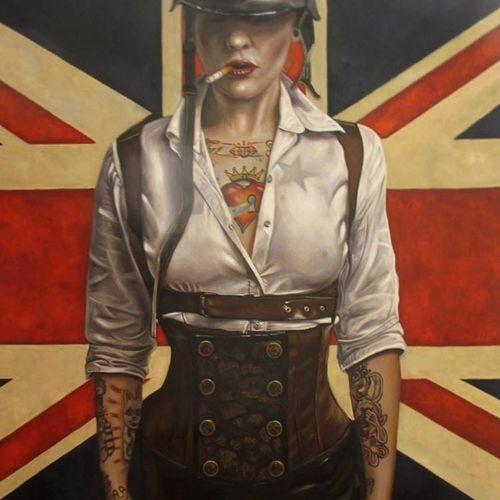 Badass painting by Luigi Muto #LuigiMuto #painting #art #tattooedmodel