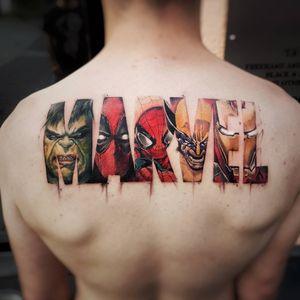 Marvel tattoo by Daniele Maiorano #DanieleMaiorano #tvtattoos #color #newtraditional #marvel #superhero #thehulk #deadpool #spiderman #wolverine #ironman #realism #realistic #comicbook #heros #tattoooftheday