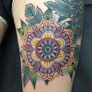 Mandala Tattoo by Katie McGowan #Traditional #BoldTattoos #ColorfulTattoos #Colorful #KatieMcGowan
