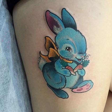 A cute little blue bunny hopping away with its carrots. Tattoo by Kitty Dearest #rabbit #bunny #cute #KittyDearest #TheBlackMark