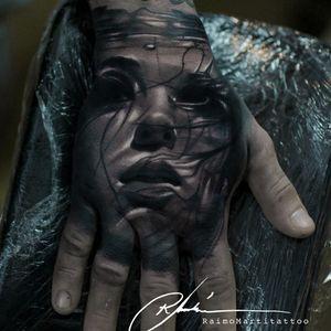 Beautiful hand tattoo by Raimo Marti #RaimoMarti #realistic #hyperrealistic #blackandgrey #3D #portrait #photorealistic