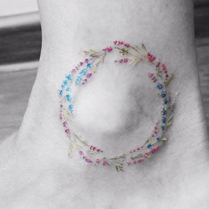 Floral ankle tattoo by Vitaly Kazantsev. #VitalyKazantsev #fineline #floral #ankle #flowers #microtattoo