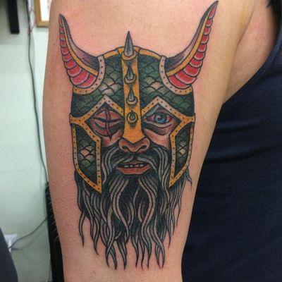 A traditional tattoo of Odin via Davide Mancini (IG—davide.mancini). #AmericanGods #DavideMancini #Odin #traditional