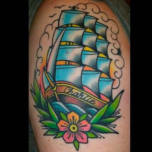 Beautiful ship tattoo done by Nate Graves. #NateGraves #Sacred #michigan #neotraditional #galleon #ship