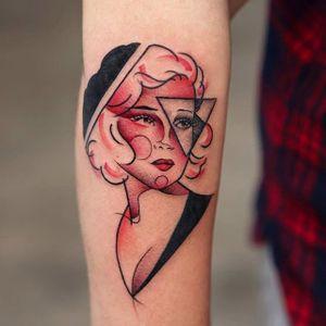 Woman tattoo by Georgia Grey. #GeorgiaGrey #bangbangnyc #painting #woman #flappergirl