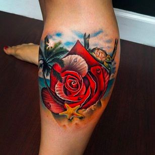 Tropical Island Rose Tattoo by Andrés Acosta @Acostattoo #AndrésAcosta #Acostattoo #Rose #Rosetattoo #Rosetattoos #Austin #Island #Islandtattoo #beach #beachtattoo