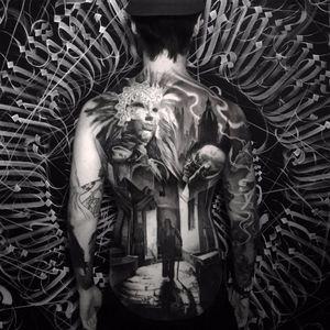 Strangers in a city by Matt Jordan #MattJordan #blackandgrey #realism #realistic #hyperrealism #mask #portrait #skull #death #city #shadow #man #building #landscape #cityscape #feathers #church #tattoooftheday