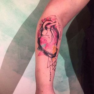 Sketch style abstract heart tattoo by Mara Koekoek. #penandink #abstract #watercolor #MaraKoekoek #sketch #heart