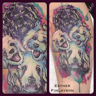 A watercolor poodle family portrait tattoo by Esther Finlayson. #watercolor #poodle #dog #neotraditional #EstherFinlayson