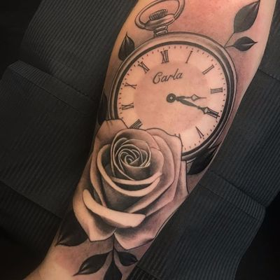 Givin love a lil time by Willy Gratton #WillyGratton #WillyG #realism #realistic #hyperrealism #blackandgrey #time #clock #watch #name #script #rose #leaves #tattoooftheday