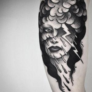 Surreal portrait tattoo by Maldenti #Maldenti #ladytattoos #blackandgrey #portrait #lady #face #storm #blouds #lightning #rain #tears #surreal #darkart