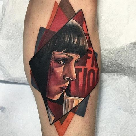 Neo traditional Mia Wallace tattoo by Deborra Cherrys. #DeborraCherrys #neotraditional #MiaWallace #femmefatale #classic #pulpfiction #cultfilm #film #movie #QuentinTarantino #moviecharacter #femmefatale #portrait