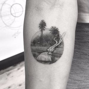 Ancient Tar Pits of LA by Doctor Woo #DoctorWoo #blackandgrey #small #realism #realistic #hyperrealism #palmtrees #elephant #losangeles #lake #prehistoric #landscape #nature #tattoooftheday