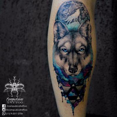 #MayaraCompulsiva #tatuadorasdobrasil #lobo #wolf #aquarela #watercolor #lua #moon