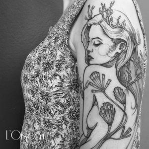 Contemporary tattoo by L'oiseau #Loiseau #contemporary #graphic #sketch #monochromatic #monochrome