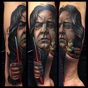 Snape Tattoo by Bartosz Panas #snape #harrypotter #neotraditional #neotraditionaltattoo #neotraditionalartist #polishtattoo #polishartist #BartoszPanas