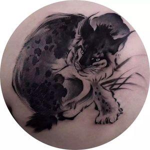 Rad bobcat tattoo done by Chenpo. #chenpo #newtattoo #asianstyle #brushstyle #bobcat #wildcat #blackandgrey