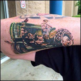 Tractor and farmer by Mark Haley (via IG --markhaleytattoos) #markhaley