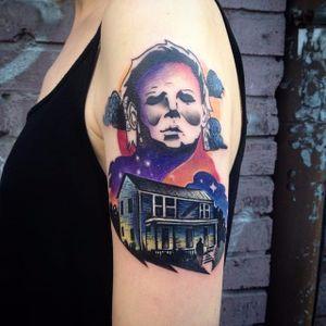 Michael Myers Tattoo by Martyna Popiel #michaelmyers #michaelmyerstattoo #halloween #halloweenatattoo #horror #horrortattoo #MartynaPopiel