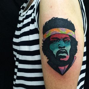 Jimi Hendrix Tattoo by Matt Cooley #traditional #traditionalportrait #MattCooley #JimiHendrix