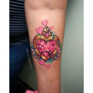 Sailor Moon tattoo by Laura Anunnaki. #LauraAnunnaki #magicalgirl #grlpwr #girlpower #magic #feminist #anime #anime #sparkly #girly #kawaii #sailormoon #heart #cosmicheartcompact