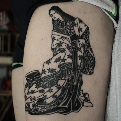 Tattoo by Franco Maldonado #FrancoMaldonado #blackandgrey #illustrative #newtraditional #darkart #surreal #Japanese #kimono #geisha #courtesan #pattern #rose #linework