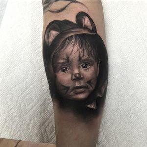 A portrait of somebody's little boy in a furry costume by Ryan Mullins (IG—ryanmullinsart). #blackandgrey #portraiture #realism #RyanMullins