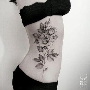 Garden-inspired tattoo by Zihwa. #Zihwa #blackwork #subtle #garden #flower #plant