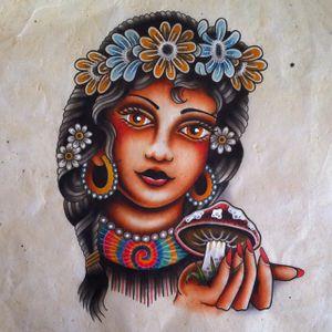 Flower Child by Jeroen Gardenier (via IG-jeroengardenier) #flashfriday #flash #flashart #ladyhead #traditional #color #flowerchild #hippie #JeroenGardenier