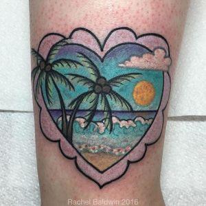 Summer getaway tattoo by Rachel Baldwin. #Rachel Baldwin #girly #pastel #cute #vacation #beach