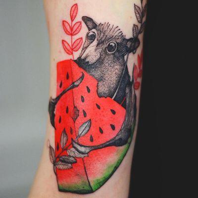 Bb bat tattoo by Joanna Swirska #JoannaSwirska #dzolama #naturetattoos #color #watercolor #illustrative #bat #animal #watermelon #fruit #cute #leaves #tattoooftheday
