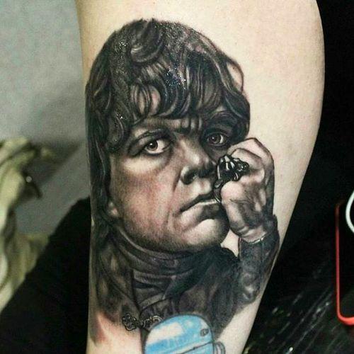 Tyrion Lannister Tattoo by @JamesTattooink #Tyrion #Lannister #TyrionLannister #TyrionTattoo #TyrionLannisterTattoo #PeterDinklage #Portrait #GameofThrones