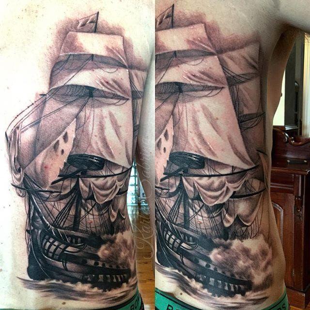 Ship as part of a larger back piece project. Tattoo by Karlee Sabrina. #blackandgrey #realism #ship #backpiece #WIP #KarleeSabrina