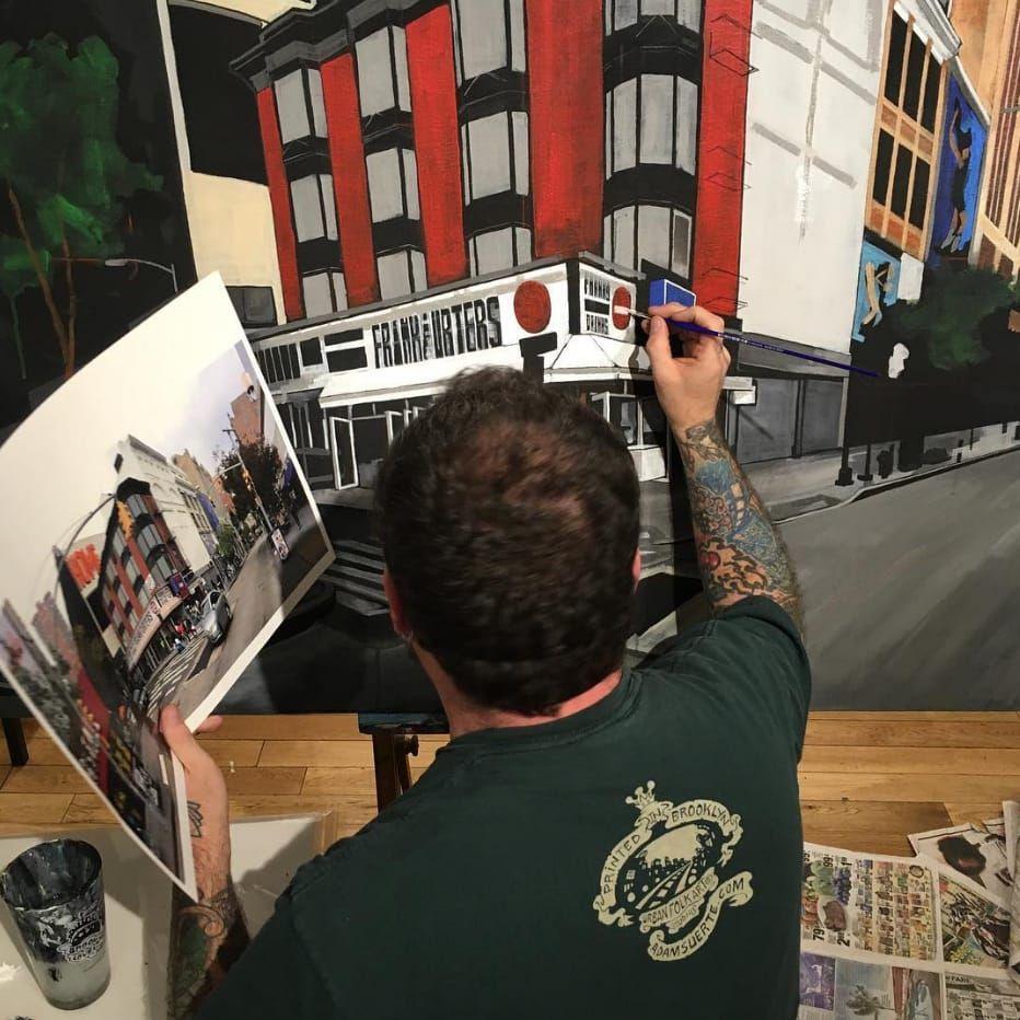 Adam Suerte painting. #adamsuerte #brooklyntattoo #brooklyn