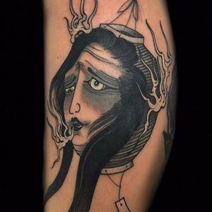 Chōchin-obake by Claudia De Sabe #ClaudiadeSabe #Japanese #blackandgrey #chochinobake #lantern #ghost #yokai #Tsukumogami #spirit #demon #light #fire #smoke #tattoooftheday