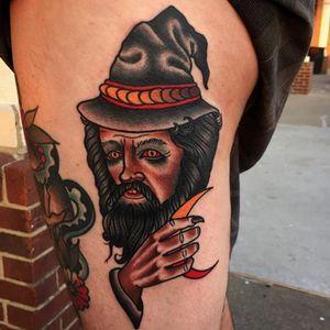 Traditional wizard tattoo #JoshDavis #traditional #wizard #wizardtattoo #traditionalportrait