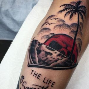 Sunset skull tattoo by Frankie Caraccioli #FrankieCaraccioli #paradise #death #skull #sunset #palmtree