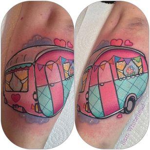 Trailer tattoo by Sam Whitehead. #SamWhitehead #girly #cute #trailer #van
