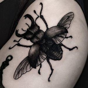 An incredible depictions of a stag beetle by Ilja Hummel (IG— iljahummel). #black #illustrative #IljaHummel #stagbeetle