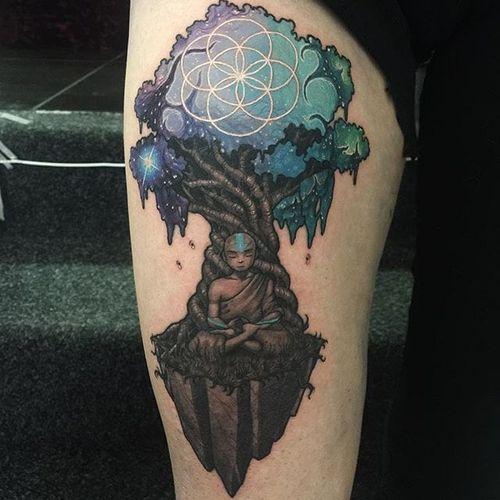 Avatar Tattoo by Joe Phillips #avatar #tree #galaxy #space #cosmic #abstract #spaceage #JoePhillips