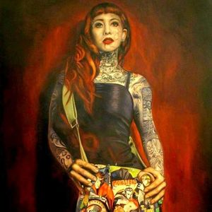 Cool portrait by Luigi Muto #LuigiMuto #painting #art #tattooedmodel