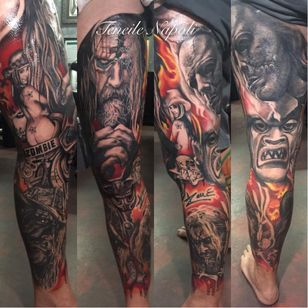 Full Rob Zombie leg piece by Teneile Napoli #robzombie #TeneileNapoli #metal #musician #horrormovies #realistic #blackandgrey #legsleeve