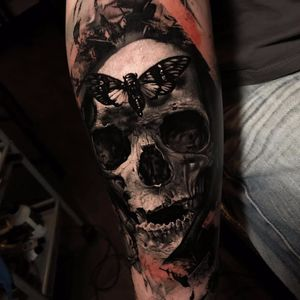 Skull and moth tattoo by Thomas Carli jarlier #ThomasCarliJarlier #blackandgrey #realism #realistic #hyperrealism #skull #bones #death #moth #butterfly #darkart #morbid #tattoooftheday