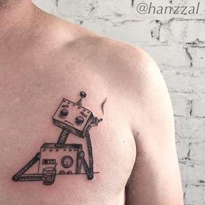 A contemplative robot. (via IG - hanzzal) #Robot #RobotTattoo #RobotTattoos
