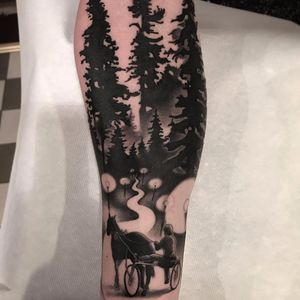 Racing horse through forest by Jacob Wiman #JacobWiman #blackandgrey #realism #realistic #blackwork #forest #trees #horse #racing #light #path #person #nature #landscape #tattoooftheday