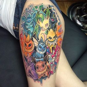 Eeveelution tattoo by Creepy Jason. #pokemon #eevee #cute #critter #anime #videogames #kawaii #eeveelution